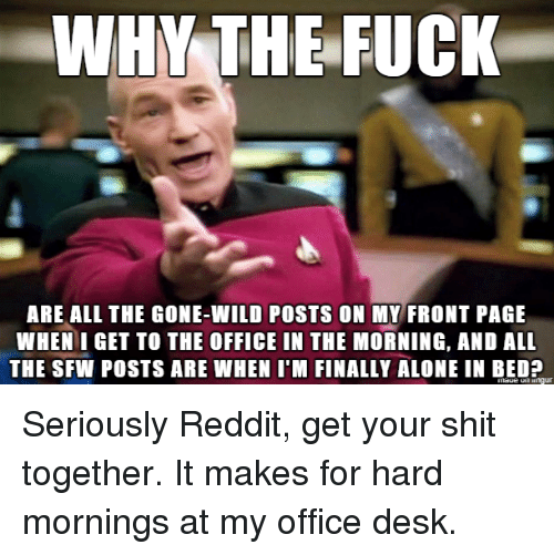 gone wild: WHY THE FUCK  ARE ALL THE GONE-WILD POSTS ON MY FRONT PAGE  WHEN I GET TO THE OFFICE IN THE MORNING, AND ALL  THE SFW POSTS ARE WHEN I'M FINALLY ALONE IN BED? Seriously Reddit, get your shit together. It makes for hard mornings at my office desk.