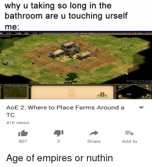 aoe 2: why u taking so long  in the  bathroom are u touching urself  me  AoE 2: Where to Place Farms Around a  TC  41 K views  Add to  Share  807 Age of empires or nuthin