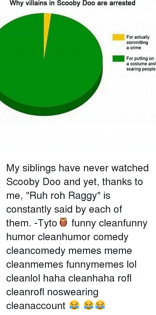 """Ruh: Why villains in Scooby Doo are arrested  For actually  committing  a Crime  For putting on  a costume and  scaring people My siblings have never watched Scooby Doo and yet, thanks to me, """"Ruh roh Raggy"""" is constantly said by each of them. -Tyto🦉 funny cleanfunny humor cleanhumor comedy cleancomedy memes meme cleanmemes funnymemes lol cleanlol haha cleanhaha rofl cleanrofl noswearing cleanaccount 😂 😂😂"""