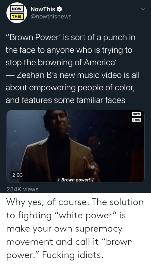 """make your own: Why yes, of course. The solution to fighting """"white power"""" is make your own supremacy movement and call it """"brown power."""" Fucking idiots."""