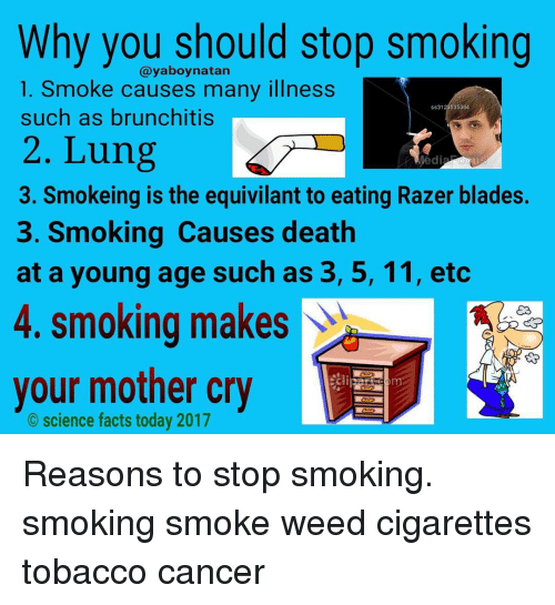 Jedi, Memes, and 🤖: Why you should stop smoking  Cayaboynatan  1. Smoke causes many illness  ss3123 035364  such as brunchitis  2. Lung  Jedi  3. Smokeing is the equivilant to eating Razer blades.  3. Smoking Causes death  at a young age such as 3, 5, 11, etc  4. smoking makes  your mother cry  science facts today 2017 Reasons to stop smoking. smoking smoke weed cigarettes tobacco cancer