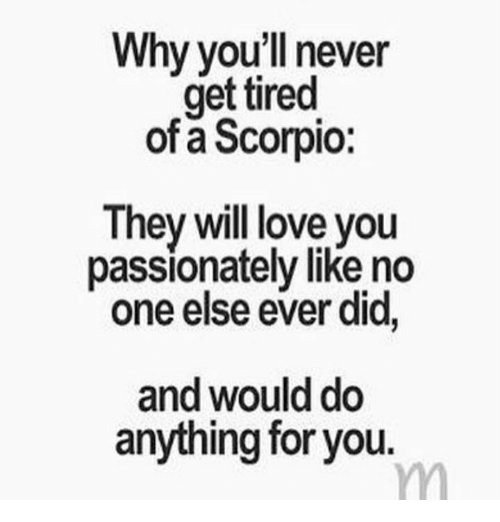 Love, Scorpio, and Never: Why you'll never  get tired  of a Scorpio  They will love you  passionately like no  one else ever did,  and would do  anything for you.
