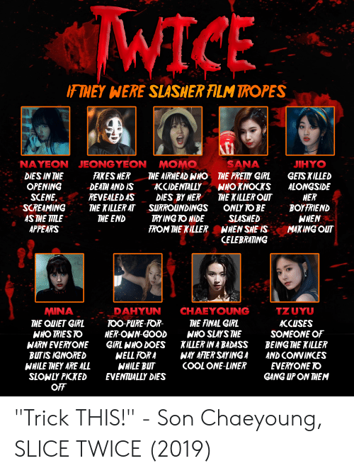 "tropes: WICE  F THEY WERE  SLASHER ALM TROPES  NAYEON JEONGYEON  SANA  MOMO  THE AIRHEAD WHO  ACCIDENTALLY  DIES BY HER  SURROUNDINGS  TRY ING TO HIDE  FROM THE KILLER  JIHYO  FAKES HER  DEATH AND IS  REVEALED AS  THE KILLER AT  THE END  GETS KILLED  ALONGSIDE  HER  BOYFRIEND  WHEN  MAKING OUT  DIES IN THE  OPENING  SCENE.  SCREAMING  AS THE TITLE  APPEARS  THE PRETY GIRL  WHO KNOCKS  THE KILLER OUT  ONLY TO BE  SLASHED  WHEN SHE IS  CELEBRATING  TZUYU  CHAEYOUNG  MINA  THE QUIET GIRL  WHO TRIES TO  WARN EVERYONE  BUTIS IGNORED  WHILE THEY ARE ALL  SLOWLY PIKKED  OFF  DAHYUN  THE FINAL GIRL  WHO SLAYS THE  KILLER IN A BADASS  WAY AFIER SAY ING A  COOL ONE-LINER  TOO PURE-FOR-  HER-OWN-GOOD  GIRL WHO DOES  WELL FOR A  WHILE BUT  EVENTUALLY DIES  ACCUSES  SOMEONE OF  BEING THE KILLER  AND CONVINCES  EVERYONE TO  GANG UP ON THEM ""Trick THIS!"" - Son Chaeyoung, SLICE TWICE (2019)"