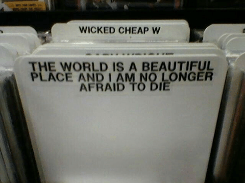 Wicked: WICKED CHEAP W  THE WORLD IS A BEAUTIFUL  PLACE AND I AM NO LONGER  AFRAID TO DIE
