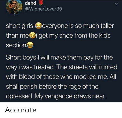 short girls: WienerLover39  short girls:everyone is so much taller  than mei get my shoe from the kids  section  Short boys:l will make them pay for the  way i was treated. The streets will runred  with blood of those who mocked me. All  shall perish before the rage of the  opressed. My vengance draws near Accurate