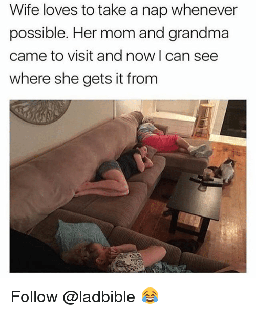 Grandma, Memes, and Wife: Wife loves to take a nap whenever  possible. Her mom and grandma  came to visit and now I can see  where she gets it from Follow @ladbible 😂
