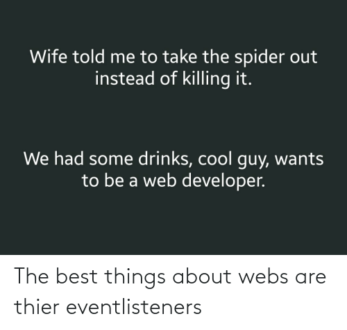 Web Developer: Wife told me to take the spider out  instead of killing it.  We had some drinks, cool guy, wants  to be a web developer. The best things about webs are thier eventlisteners