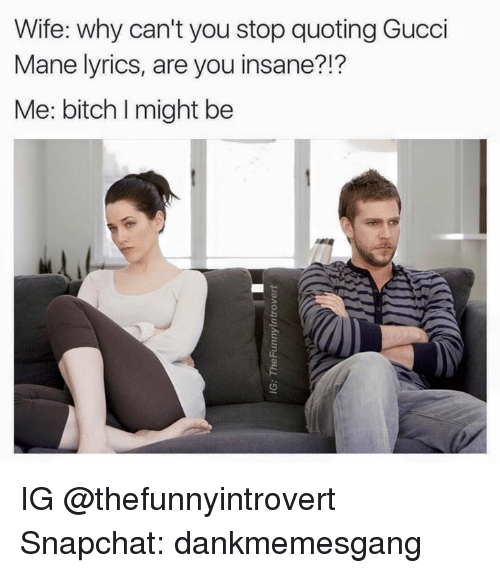 Lyrics: Wife: why can't you stop quoting Gucci  Mane lyrics, are you insane?!  Me: bitch might be IG @thefunnyintrovert  Snapchat: dankmemesgang