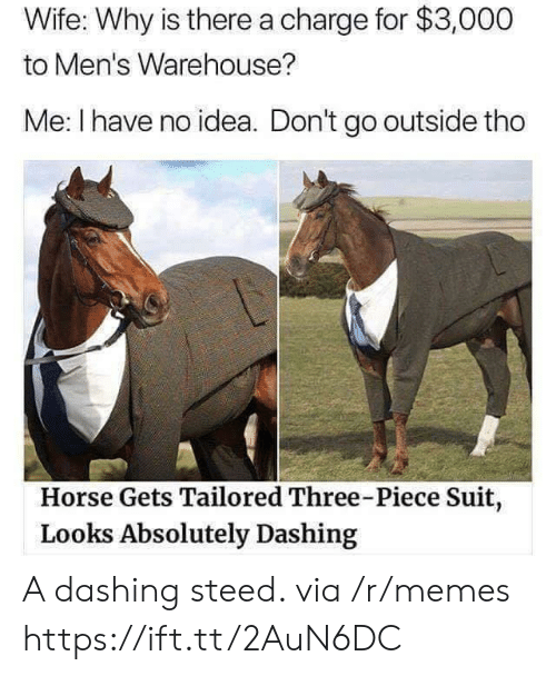 dashing: Wife: Why is there a charge for $3,000  to Men's Warehouse?  Me: I have no idea. Don't go outside tho  Horse Gets Tailored Three-Piece Suit,  Looks Absolutely Dashing A dashing steed. via /r/memes https://ift.tt/2AuN6DC