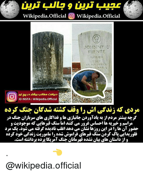 Memes, Wikipedia, and Air Force: Wikipedia.official O Wikipedia.offcial  JOHNNY U  FUENTE  FLORIDA  US AIR FORCE  ID INSTA Wikipedia.Official . با ویکی پدیا همراه باشید 👈 @wikipedia.official
