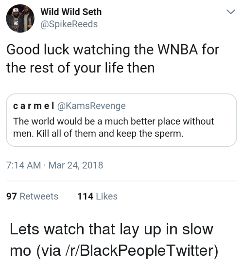 Lay Up: Wild Wild Seth  aSpikeReeds  Good luck watching the WNBA for  the rest of your life then  carmel @KamsRevenge  The world would be a much better place without  men. Kill all of them and keep the sperm  7:14 AM Mar 24, 2018  97 Retweets  114 Likes <p>Lets watch that lay up in slow mo (via /r/BlackPeopleTwitter)</p>