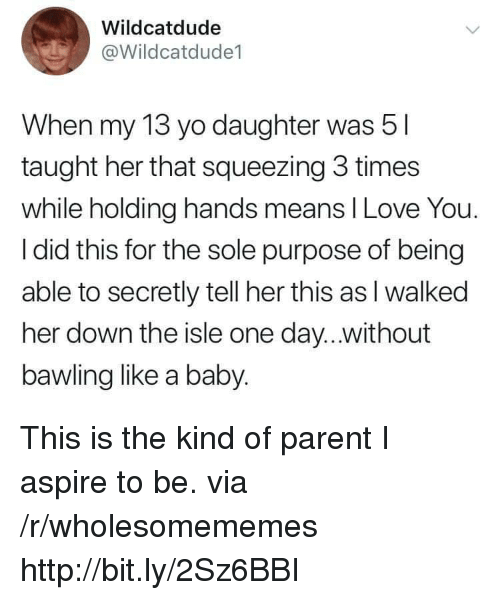 like a baby: Wildcatdude  @Wildcatdude1  When my 13 yo daughter was 5  taught her that squeezing 3 times  while holding hands means I Love You.  I did this for the sole purpose of being  able to secretly tell her this as l walked  her down the isle one day...without  bawling like a baby. This is the kind of parent I aspire to be. via /r/wholesomememes http://bit.ly/2Sz6BBI