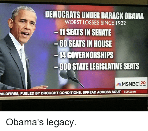 Barack Obama, Legacy, and Msnbc: WILDFIRES, FUELED BY DROU  DEMOCRATSUNDER BARACK OBAMA  WORST LOSSES SINCE 1922  -11 SEATS IN SENATE  60 SEATS IN HOUSE  GOVERNORSHIPS  900 STATELEGISLATIVE SEATS  MSNBC  YEARS Obama's legacy.