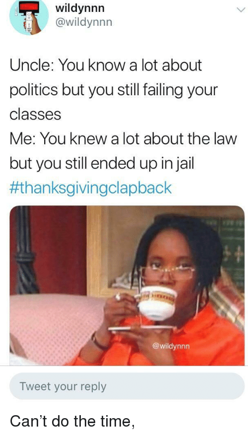 Thanksgiving Clap Back: wildynnn  @wildynnn  Uncle: You know a lot about  politics but you still failing your  classes  Me: You knew a lot about the law  but you still ended up injail  #thanksgivingclapback  @wildynnn  Tweet your reply Can't do the time,