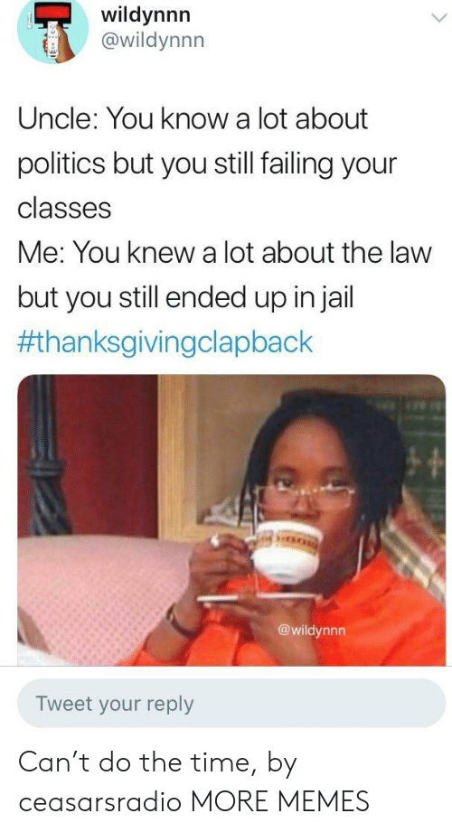 Thanksgiving Clap Back: wildynnn  @wildynnn  Uncle: You know a lot about  politics but you still failing your  classes  Me: You knew a lot about the law  but you still ended up injail  #thanksgivingclapback  @wildynnn  Tweet your reply Can't do the time, by ceasarsradio MORE MEMES