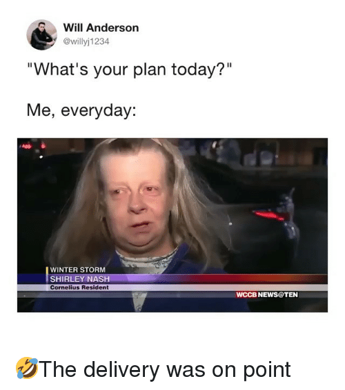 """Memes, News, and Winter: Will Anderson  @willyj1234  """"What's your plan today?""""  Me, everyday:  WINTER STORM  SHIRLEY NASH  Cornelius Resident  WCCB NEWS@TEN 🤣The delivery was on point"""