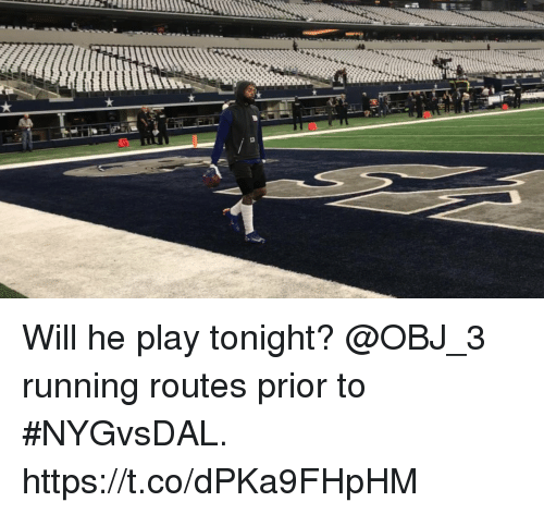 Memes, Running, and 🤖: Will he play tonight?  @OBJ_3 running routes prior to #NYGvsDAL. https://t.co/dPKa9FHpHM