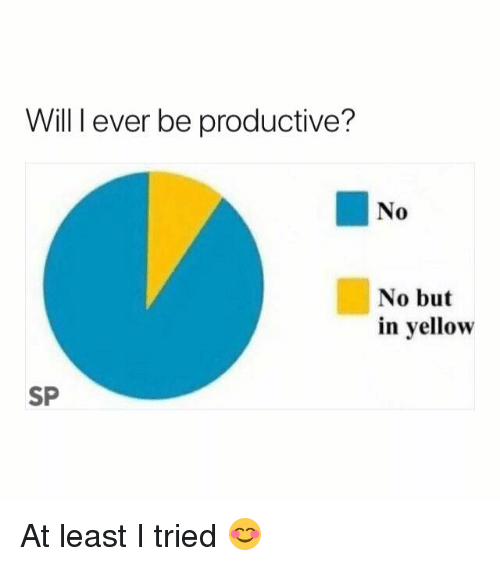 Will, Yellow, and No No: Will I ever be productive?  No  No but  in yellow  SP At least I tried 😊