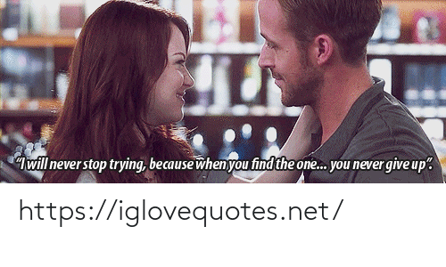 """never give up: will never stop trying, because when you find the one. you never give up"""". https://iglovequotes.net/"""