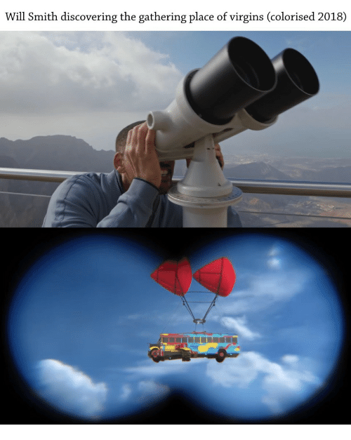 virgins: Will Smith discovering the gathering place of virgins (colorised 2018)