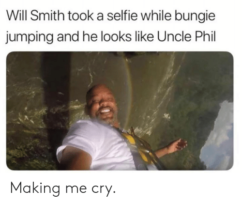 bungie: Will Smith took a selfie while bungie  jumping and he looks like Uncle Phil Making me cry.
