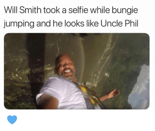 bungie: Will Smith took a selfie while bungie  jumping and he looks like Uncle Phil 💙