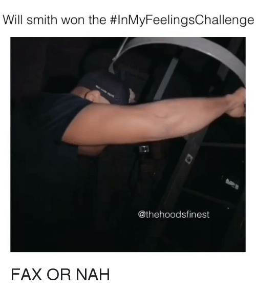 Memes, Will Smith, and 🤖: Will smith won the #InMyFeelingsChallenge  @thehoodsfinest FAX OR NAH