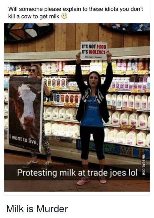 Protesting: Will someone please explain to these idiots you don't  kill a cow to get milk  (g)  ITS NOT FOOD  ITS VIOLENCE  want to live.  10  Protesting milk at trade joes lol Milk is Murder