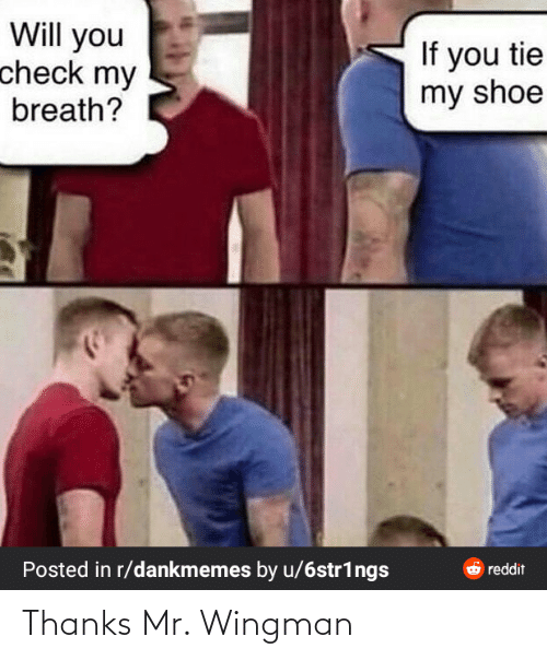 wingman: Will you  check my  If you tie  my shoe  breath?  Posted in r/dankmemes by u/6str1ngs  6 reddit Thanks Mr. Wingman