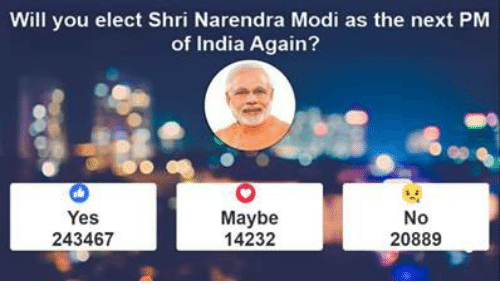 Memes, India, and Narendra Modi: Will you elect Shri Narendra Modi as the next PM  of India Again?  Maybe  No  Yes  14232  20889  243467