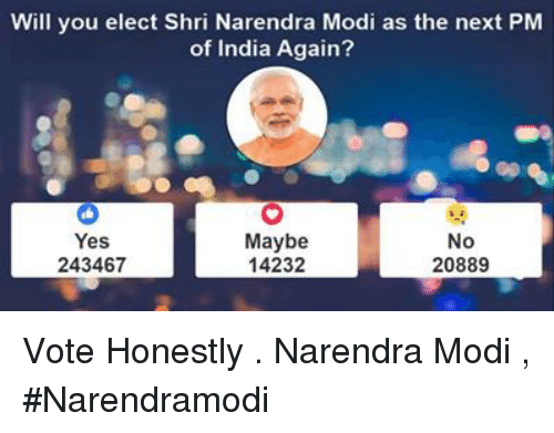 Memes, India, and Narendra Modi: Will you elect Shri Narendra Modi as the next PM  of India Again?  Maybe  No  Yes  14232  20889  243467 Vote Honestly .  Narendra Modi , #Narendramodi