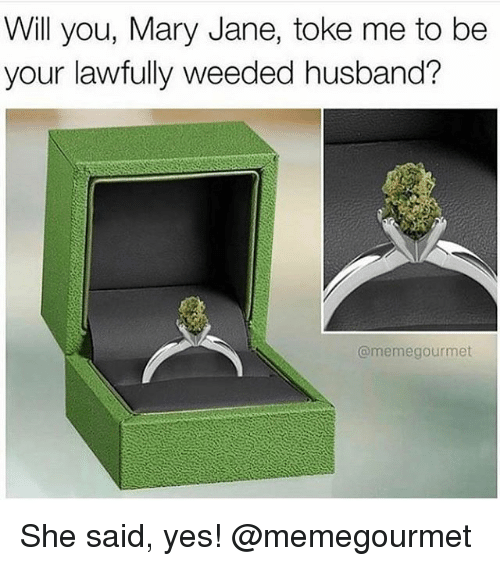 toke: Will you, Mary Jane, toke me to be  your lawfully weeded husband?  (a memegourmet She said, yes! @memegourmet