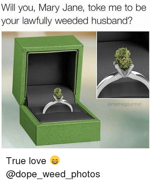 toke: Will you, Mary Jane, toke me to be  your lawfully weeded husband?  @memegourmet True love 😄 @dope_weed_photos
