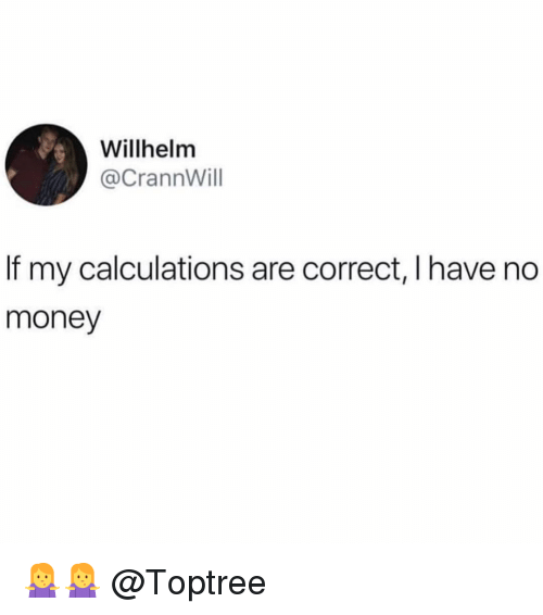 Memes, Money, and 🤖: Willhelmm  @CrannWill  If my calculations are correct, lhave no  money 🤷‍♀️🤷‍♀️ @Toptree