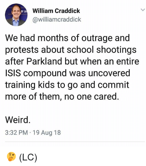 Outrage: William Craddick  @williamcraddick  OF LA  We had months of outrage and  protests about school shootings  after Parkland but when an entire  ISIS compound was uncovered  training kids to go and commit  more of them, no one cared  Weird  3:32 PM 19 Aug 18 🤔 (LC)