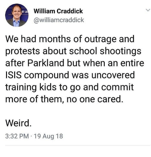 Isis, Memes, and School: William Craddick  @williamcraddick  OF LA  We had months of outrage and  protests about school shootings  after Parkland but when an entire  ISIS compound was uncovered  training kids to go and commit  more of them, no one cared.  Weird  3:32 PM 19 Aug 18