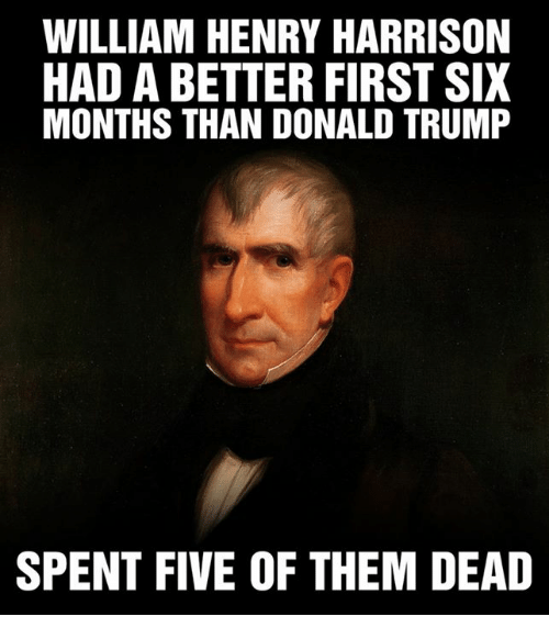 Donald Trump, Trump, and Henry: WILLIAM HENRY HARRISON  HAD A BETTER FIRST SIX  MONTHS THAN DONALD TRUMP  SPENT FIVE OF THEM DEAD
