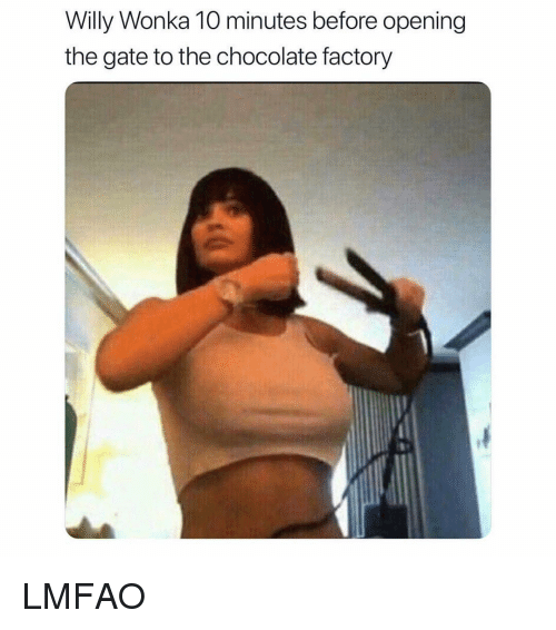 Willy Wonka, Chocolate, and Girl Memes: Willy Wonka 10 minutes before opening  the gate to the chocolate factory LMFAO