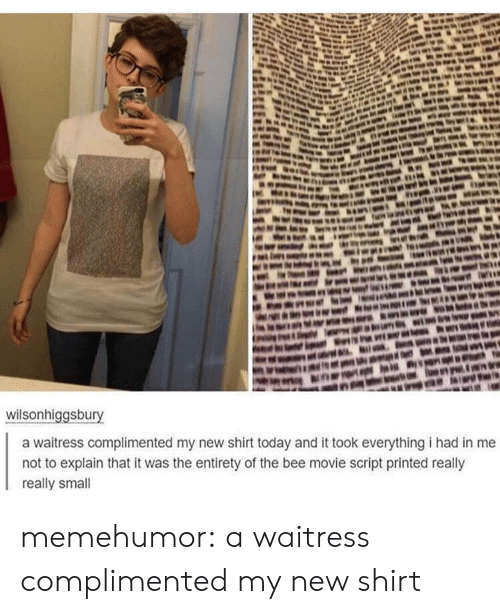 Movie Script: wilsonhiggsbury  a waitress complimented my new shirt today and it took everything i had in me  not to explain that it was the entirety of the bee movie script printed really  really small memehumor:  a waitress complimented my new shirt