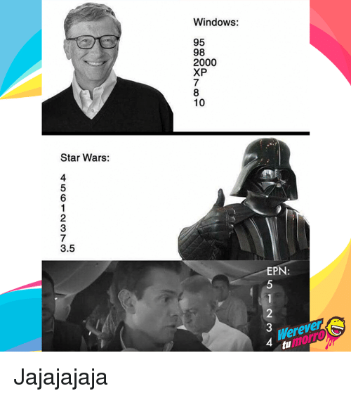 Star Wars, Windows, and Star: Windows:  95  98  2000  XP  10  Star Wars:  3.5  EPN  Werever  morro  4  tu Jajajajaja