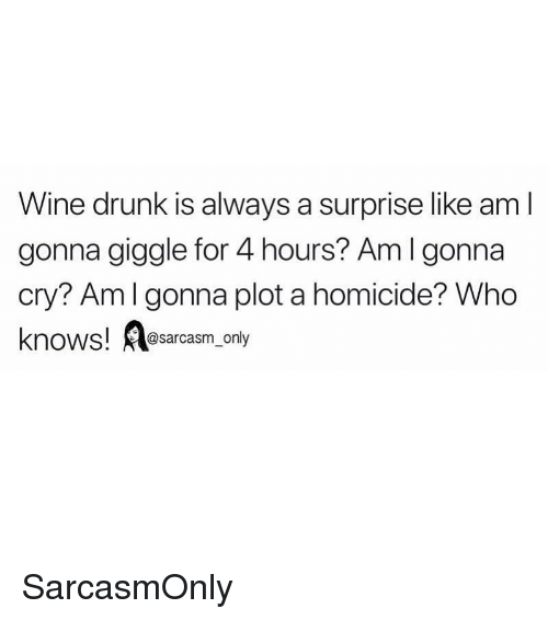 wine drunk: Wine drunk is always a surprise like am l  gonna giggle for 4 hours? Aml gonna  cry? Amlgonna plot a homicide? Who  knows! esarcasm only SarcasmOnly