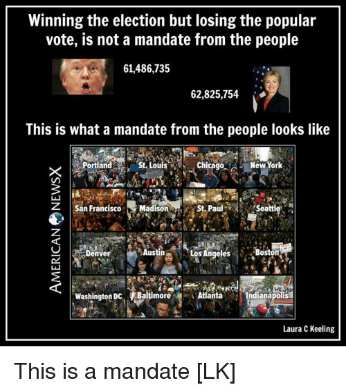 mandate: Winning the election but losing the popular  vote, is not a mandate from the people  61,486,735  62,825,754  This is what a mandate from the people looks like  St Louis Chicago A  New York  Portland  Seatt  San Francisco  Madiso  St. Paul  Austin  Los Angeles  Boston  Denve  WE Stal  Washington Dc Baltimore A Atlanta  Indianapolis  Laura C Keeling This is a mandate [LK]