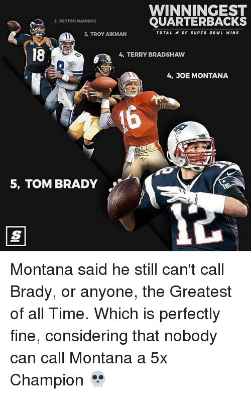Joe Montana: WINNINGEST  QUARTERBACKS  PEYTON MANNING  TOTAL OF SUPER BOWL WINS  3, TROY AIKMAN  4, TERRY BRADSHAW  4, JOE MONTANA  5, TOM BRADY Montana said he still can't call Brady, or anyone, the Greatest of all Time. Which is perfectly fine, considering that nobody can call Montana a 5x Champion 💀