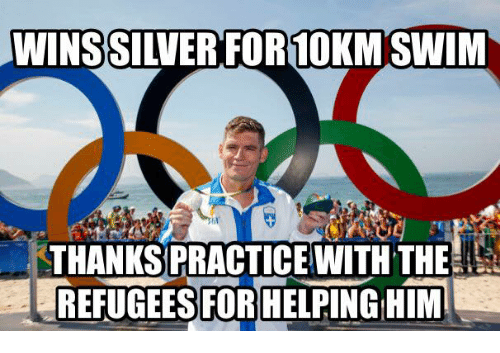 Glorious Greek Empire: WINSSIWER FOR10KM SWIM  THANKSPRACTICE WITH THE  REFUGEES FOR HELPINGHIM