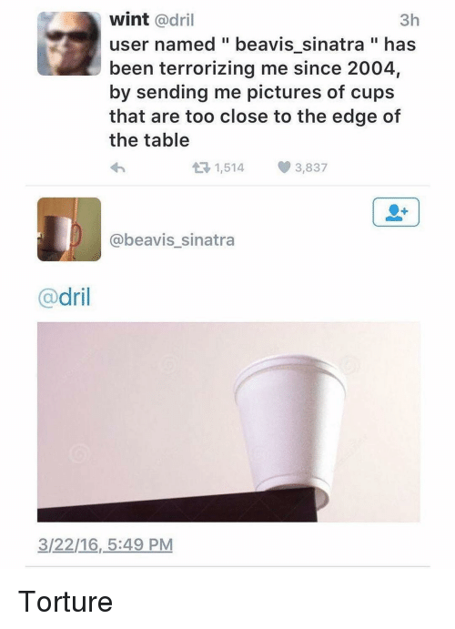 Beavies: wint adril  3h  user named beavis sinatra has  been terrorizing me since 2004,  by sending me pictures of cups  that are too close to the edge of  the table  At 1,514 3,837  @beavis sinatra  dril  3/22/16, 5:49 PM Torture