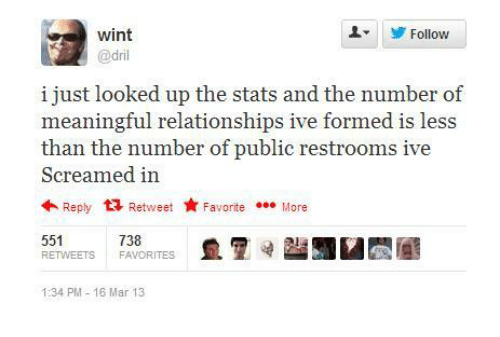 dril: wint  @dril  Follow  i just looked up the stats and the number of  meaningful relationships ive formed is less  than the number of public restrooms ive  Screamed in  Reply t3 Retweet FavoriteMore  551  RETWEETS FAVORITES  738  1:34 PM-16 Mar 13