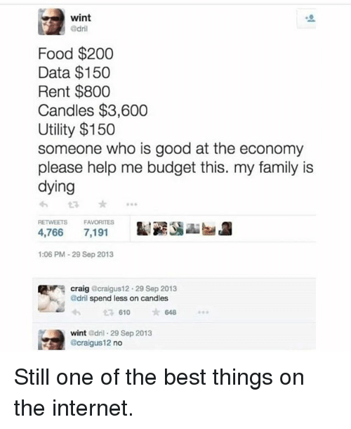 Bailey Jay, Family, and Food: wint  Food $200  Data $150  Rent $800  Candles $3,600  Utility $150  someone who is good at the economy  please help me budget this. my family is  dying  わt3 *  4,766 7,191  1:06 PM-29 Sep 2013  FAVORITES  Nr.  craig  @dril spend less on candles  craigus1 2-29 Sep 2013  610 648  wint dril 29 Sep 2013  @craigus12 no Still one of the best things on the internet.