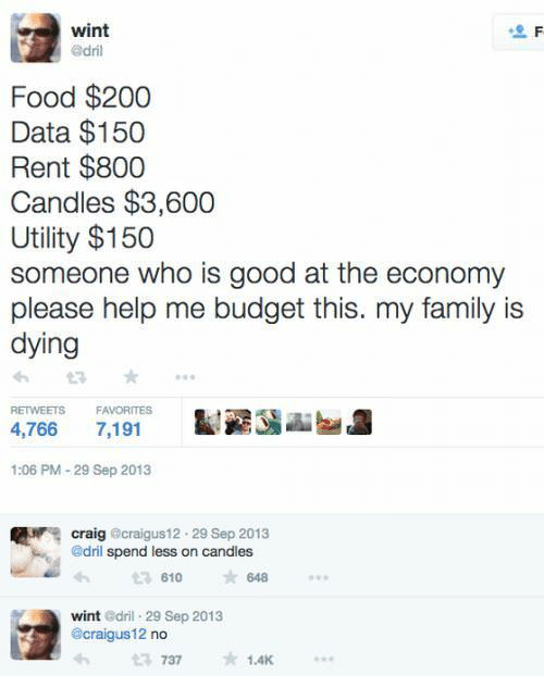 Bailey Jay, Family, and Food: wint  Food $200  Data $150  Rent $800  Candles $3,600  Utility $150  someone who is good at the economy  please help me budget this. my family is  dying  RETWEETS F  4,766 7,191  FAVORITES  1:06 PM-29 Sep 2013  craig @craigus12 29 Sep 2013  @dril spend less on candles  610  648  wint Gdril 29 Sep 2013  @craigus 12 no  7371.4K