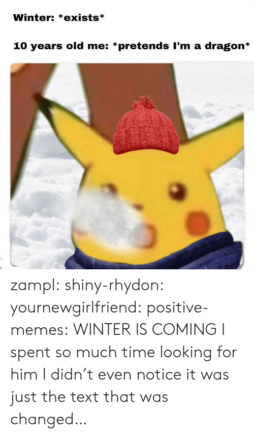 winter is coming: Winter: *exists*  10 years old me: *pretends I'm a dragon* zampl:  shiny-rhydon:   yournewgirlfriend:  positive-memes: WINTER IS COMING   I spent so much time looking for him I didn't even notice it was just the text that was changed…