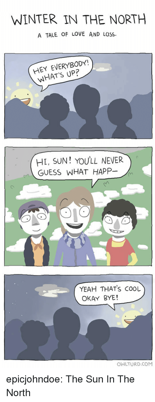 okay bye: WINTER IN THE NORTH  A TALE OF LOVE AND LOSS  HEY EVERYBODY!  WHAT'S UP?  HL, SUN! YOULL NEVER  GUESS WHAT HAPP-  YEAH THATS COOL  OKAY BYE!  OWLTURD.COM epicjohndoe:  The Sun In The North